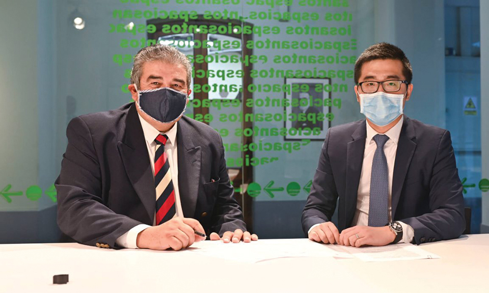 Pablo Picabea (Ministerio de Salud Pública), Luis Xie (Huawei Uruguay)