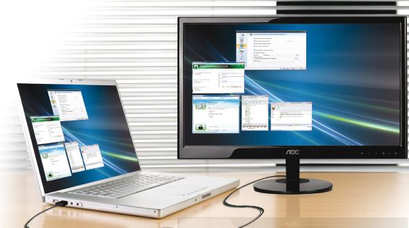 AOC Lanza monitor USB video y energia por cable usb