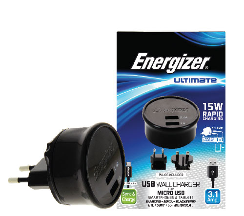 Energizer Cargador de pared con 2 puertos USB