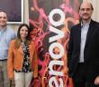 Germán Yeannes, Lenovo Client Technical Sales,  Sara Rodriguez, Lenovo Small Deals DCG y Carlos Hebrero, Lenovo Territory Manager