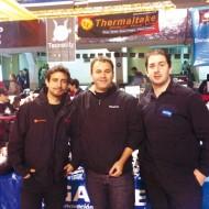 Foto Jeremías Labardén de Thermaltake, Gastón Finkelstein y Gabriel Gori de Gigabyte