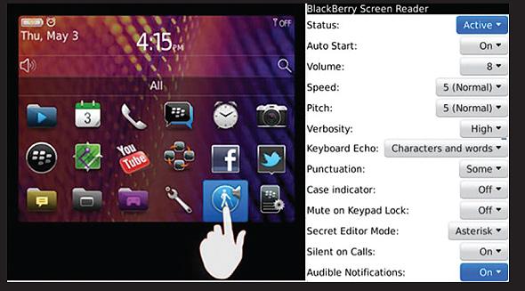 Foto BlackBerry Screen Reader para Clientes con Discapacidad Visual